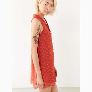 Kimchi Blue Red Swing Button Down Polka Dot Dress